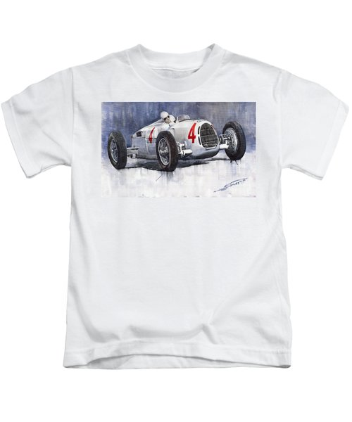 Auto Union C Type 1937 Monaco Gp Hans Stuck Kids T-Shirt