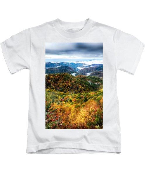 Autumn Foliage On Blue Ridge Parkway Near Maggie Valley North Ca Kids T-Shirt