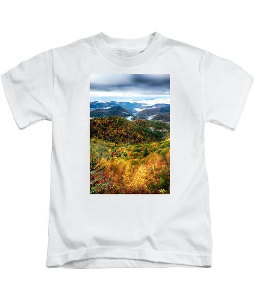 Autumn Foliage On Blue Ridge Parkway Near Maggie Valley North Ca Kids T-Shirt