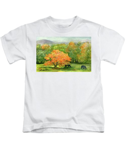 Autumn Maple With Horses Grazing Kids T-Shirt