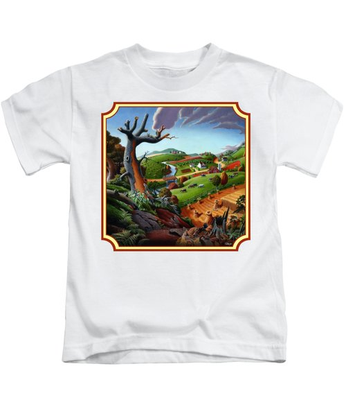Autumn Wheat Harvest Country Farm Life Landscape - Square Format Kids T-Shirt