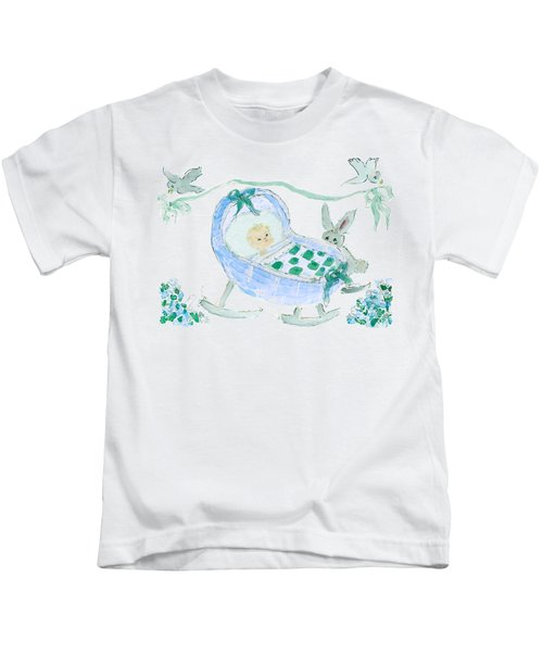Baby Boy With Bunny And Birds Kids T-Shirt