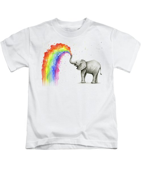 Baby Elephant Spraying Rainbow Kids T-Shirt