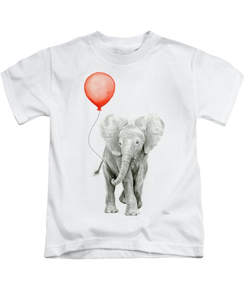 Baby Elephant Watercolor Red Balloon Kids T-Shirt