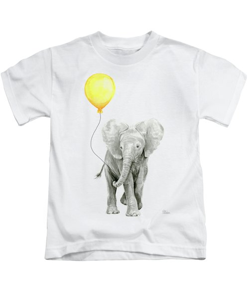 Baby Elephant Watercolor With Yellow Balloon Kids T-Shirt