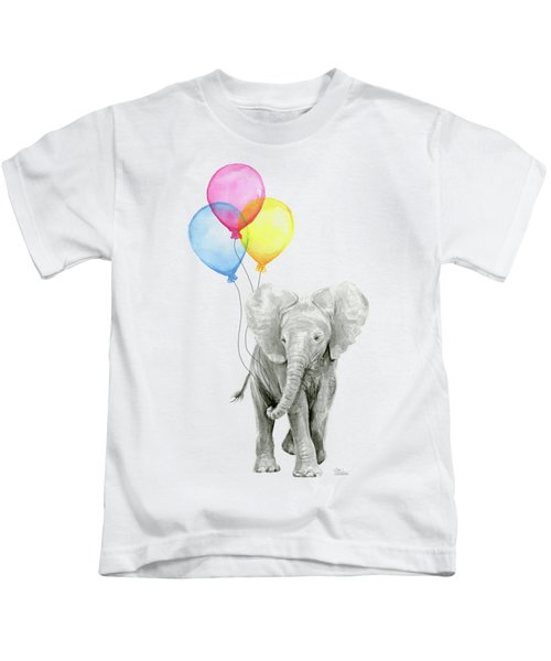 Baby Elephant With Baloons Kids T-Shirt by Olga Shvartsur