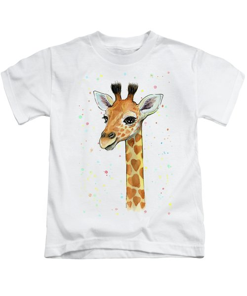 Baby Giraffe Watercolor With Heart Shaped Spots Kids T-Shirt by Olga Shvartsur