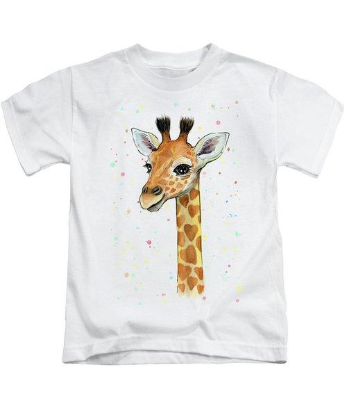 Baby Giraffe Watercolor With Heart Shaped Spots Kids T-Shirt