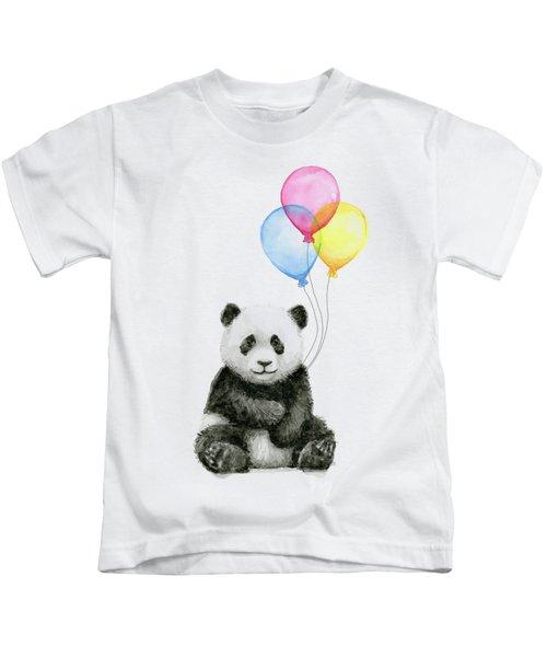 Baby Panda Watercolor With Balloons Kids T-Shirt