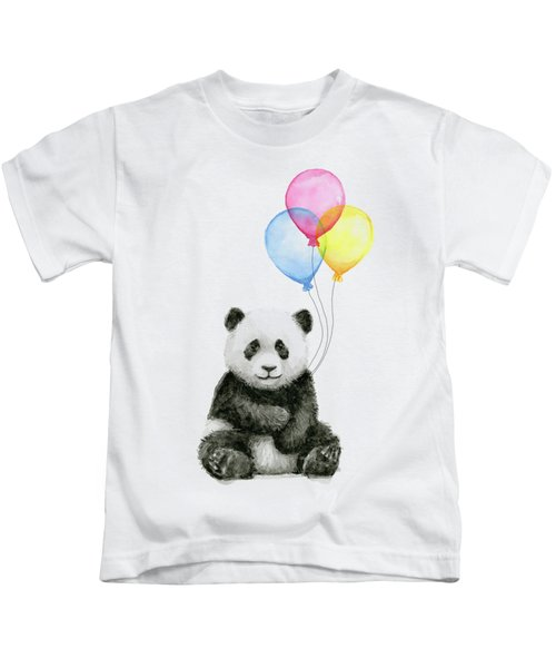 Baby Panda Watercolor With Balloons Kids T-Shirt