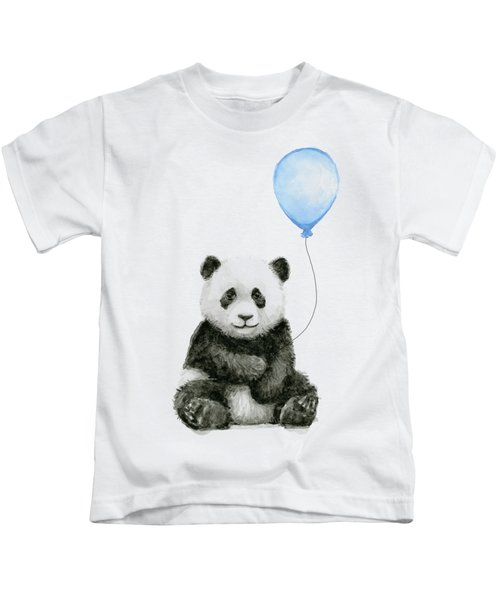 Baby Panda With Blue Balloon Watercolor Kids T-Shirt
