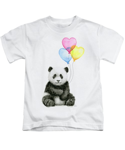 Baby Panda With Heart-shaped Balloons Kids T-Shirt by Olga Shvartsur