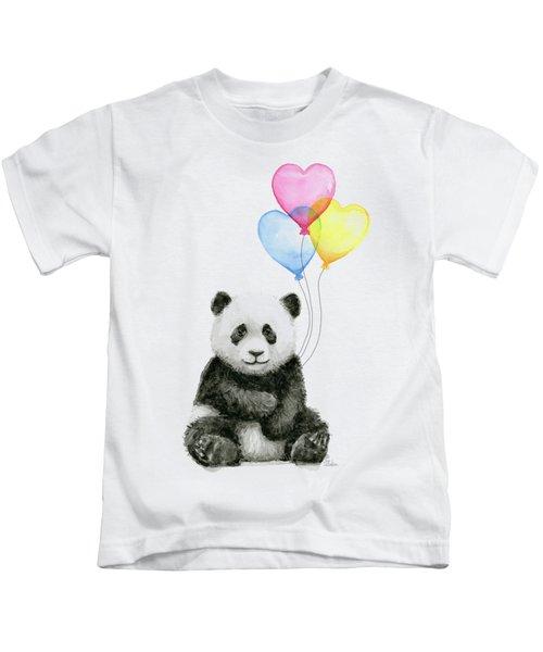 Baby Panda With Heart-shaped Balloons Kids T-Shirt
