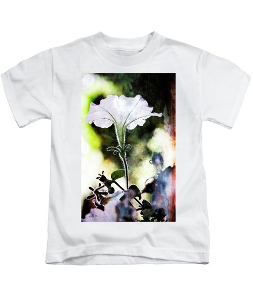 Backlit White Flower Kids T-Shirt
