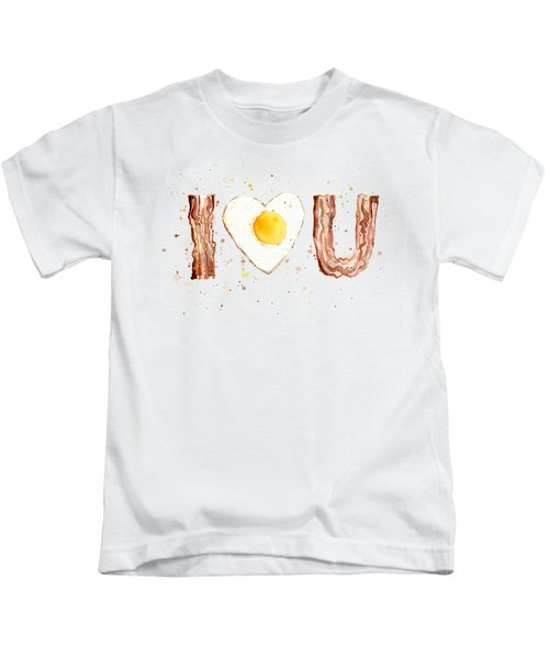 Bacon And Egg I Heart You Watercolor Kids T-Shirt