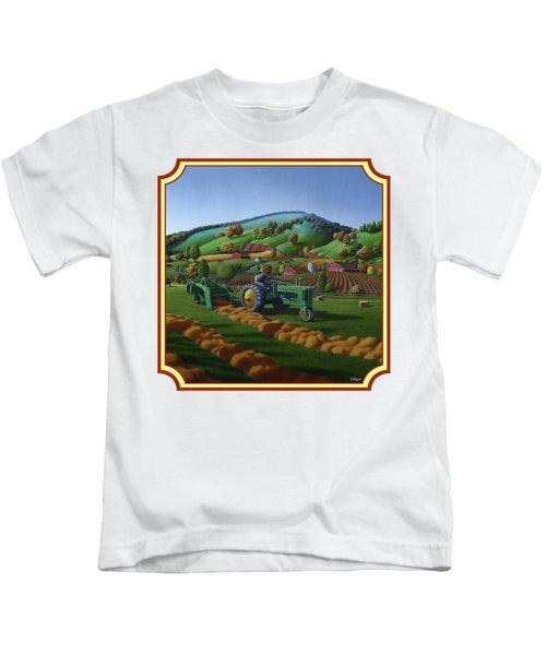 Baling Hay Field - John Deere Tractor - Farm Country Landscape Square Format Kids T-Shirt