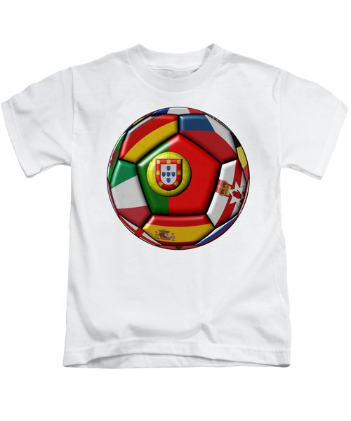 Ball With Flag Of Portugal In The Center Kids T-Shirt