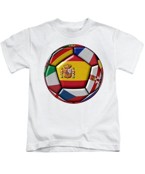 Ball With Flag Of Spain In The Center Kids T-Shirt