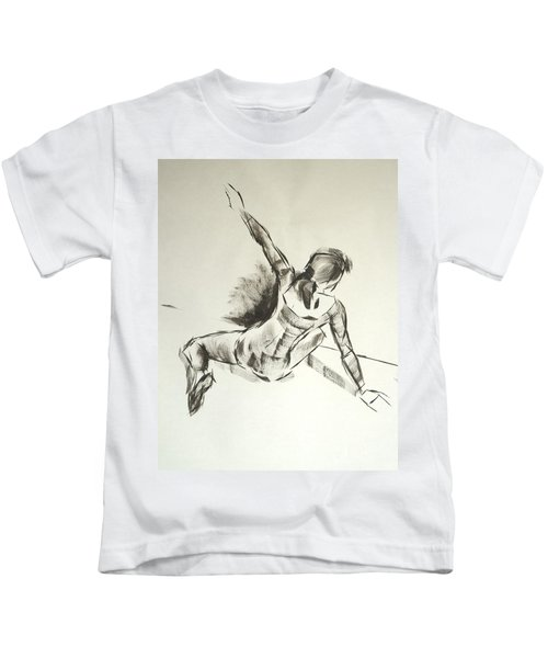Ballet Dancer Sitting On Floor With Weight On Her Right Arm Kids T-Shirt