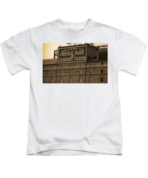 Baltimore Orioles Park At Camden Yards Sepia Kids T-Shirt