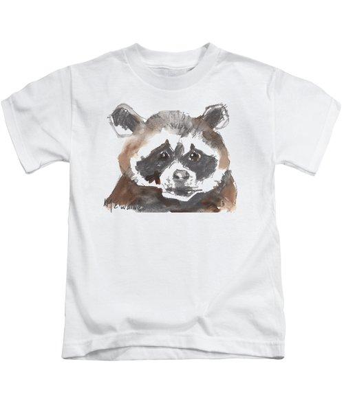 Bandit Raccoon Kids T-Shirt by Kathleen McElwaine
