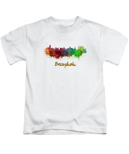 Bangkok Skyline In Watercolor Kids T-Shirt
