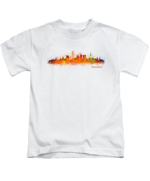 Barcelona City Skyline Hq _v3 Kids T-Shirt by HQ Photo