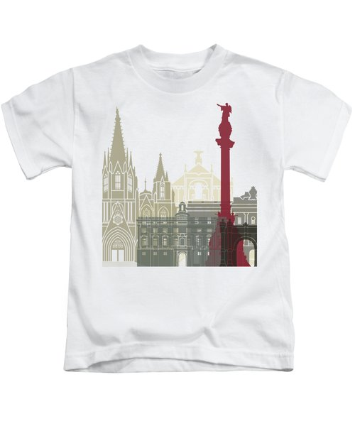Barcelona Skyline Poster Kids T-Shirt by Pablo Romero
