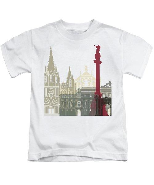 Barcelona Skyline Poster Kids T-Shirt