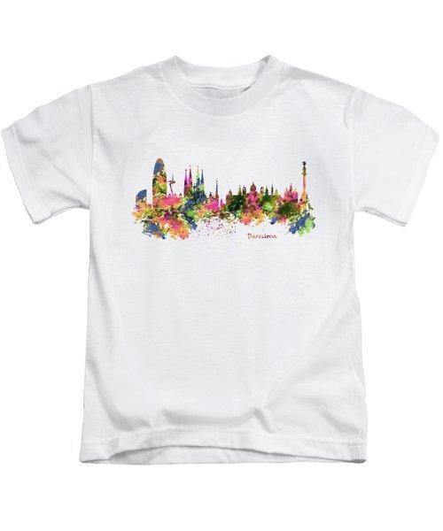 Barcelona Watercolor Skyline Kids T-Shirt