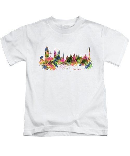 Barcelona Watercolor Skyline Kids T-Shirt