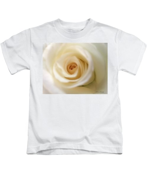 Kids T-Shirt featuring the photograph Barely White Rose by Marian Palucci-Lonzetta