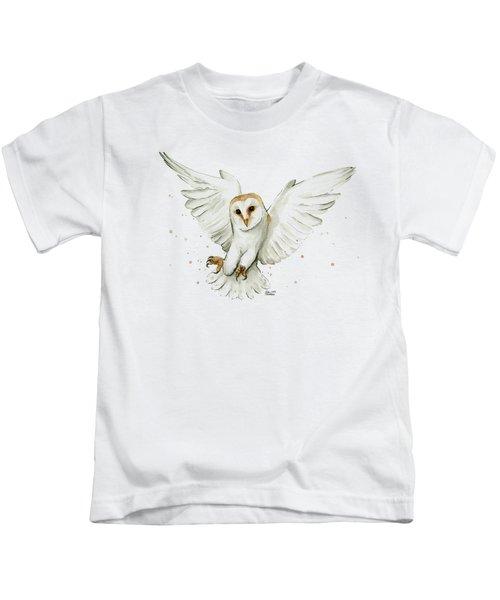 Barn Owl Flying Watercolor Kids T-Shirt