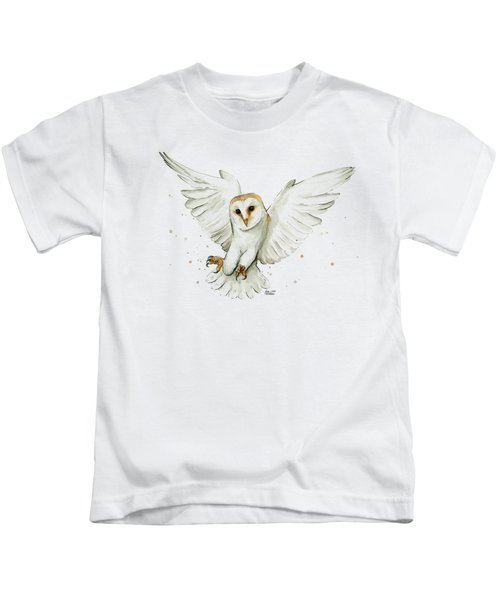 Barn Owl Flying Watercolor Kids T-Shirt