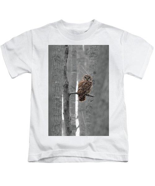 Barred Owl In Winter Woods #1 Kids T-Shirt