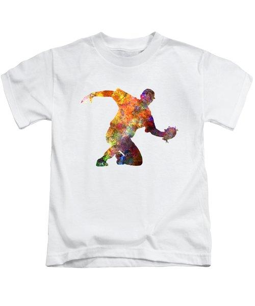 Baseball Player Catching A Ball Kids T-Shirt by Pablo Romero