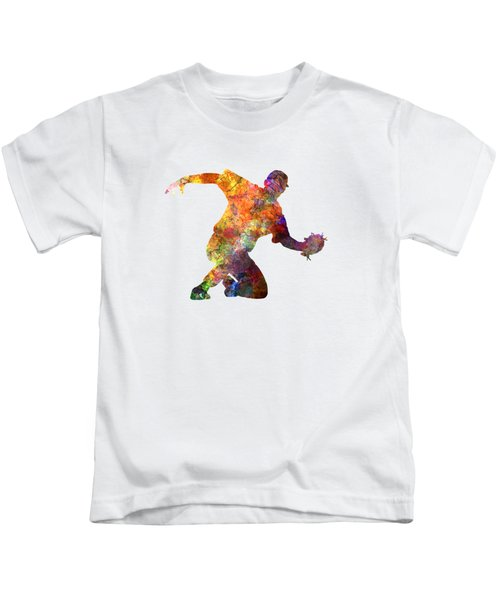 Baseball Player Catching A Ball Kids T-Shirt