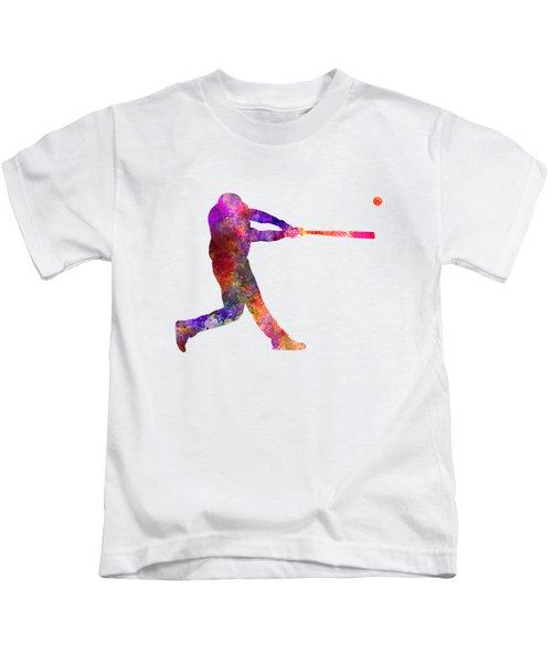 Baseball Player Hitting A Ball 01 Kids T-Shirt by Pablo Romero
