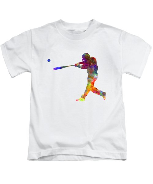 Baseball Player Hitting A Ball 02 Kids T-Shirt by Pablo Romero