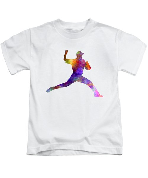 Baseball Player Throwing A Ball 01 Kids T-Shirt by Pablo Romero