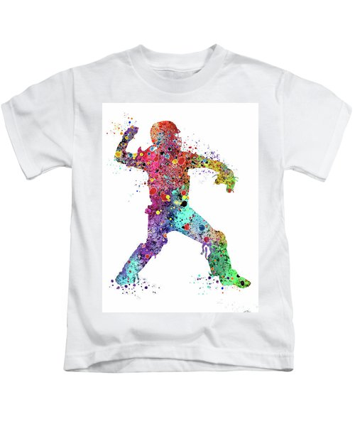 Baseball Softball Catcher 3 Watercolor Print Kids T-Shirt