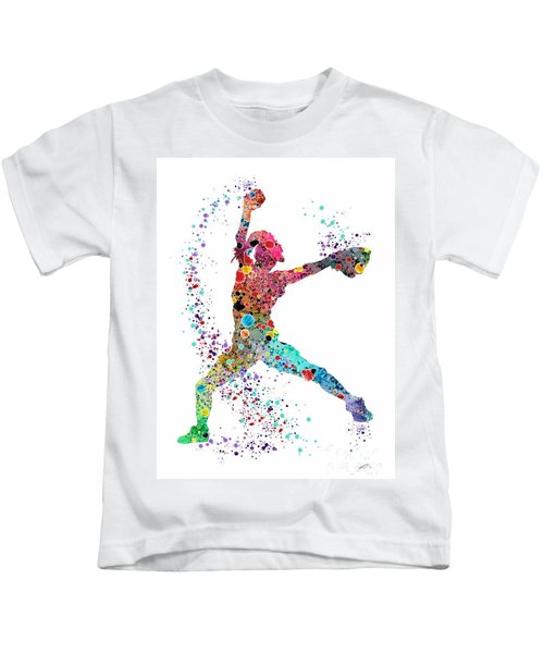 Baseball Softball Pitcher Watercolor Print Kids T-Shirt