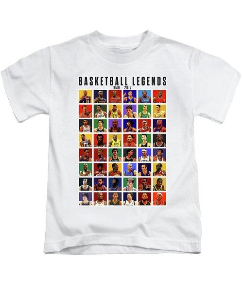 Basketball Legends Kids T-Shirt by Semih Yurdabak