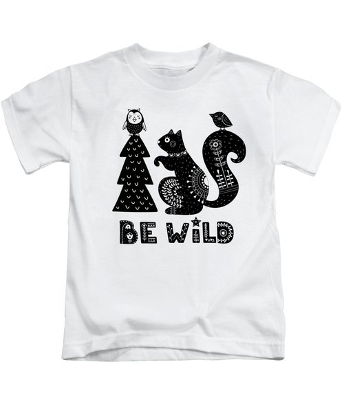 Be Wild Cute Owl And Squirrel In Scandinavian Style Kids T-Shirt