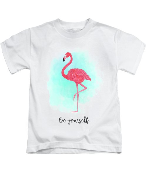 Be Yourself Flamingo Print Kids T-Shirt by Donna Gilbert