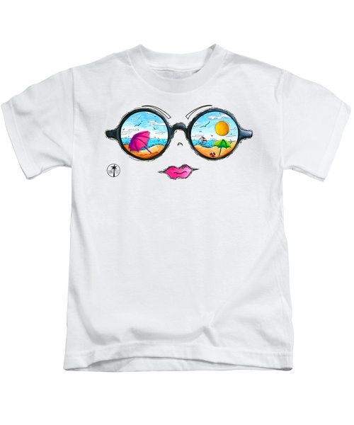 Beach Day Sunglass Design From The Sunnie Tees 2016 Collection Kids T-Shirt by Megan Duncanson