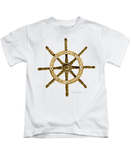Beach House Nautical Boat Ship Anchor Vintage Kids T-Shirt by Audrey Jeanne Roberts