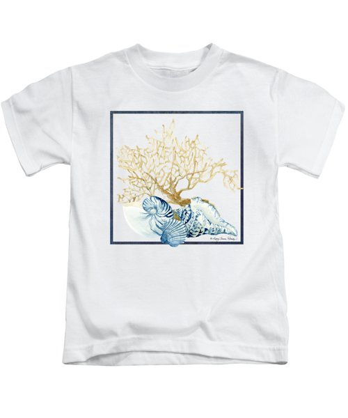 Beach House Nautilus Scallop N Conch With Tan Fan Coral Kids T-Shirt