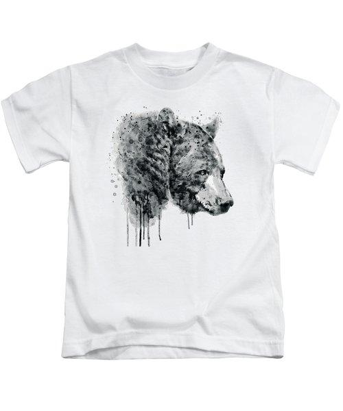 Bear Head Black And White Kids T-Shirt