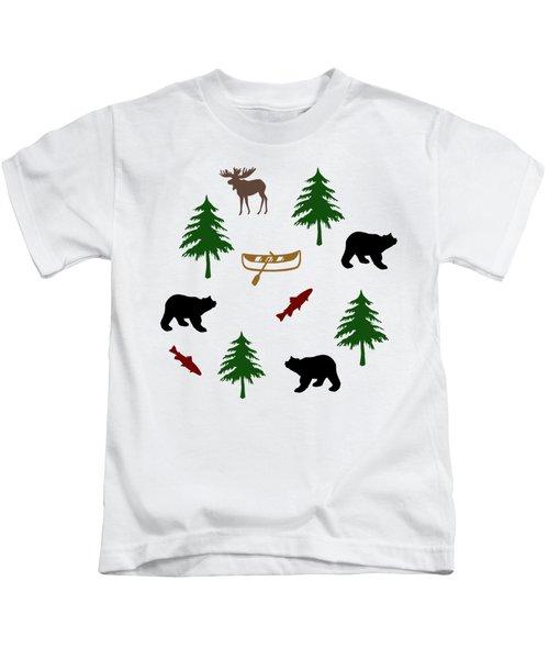 Bear Moose Pattern Kids T-Shirt